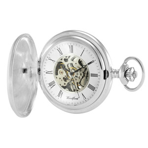 Woodford Sterling Silver Full Hunter Skeleton Pocket Watch 1103