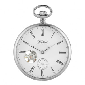 Woodford Silver Plated Open Faced Mechanical Swiss Pocket Watch 1106