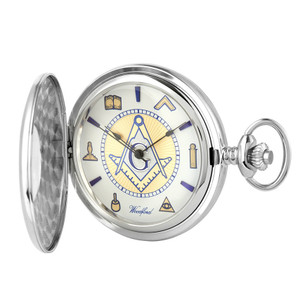 Woodford Sterling Silver Masonic Half Hunter Pocket Watch 1109