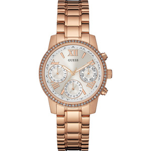 Guess Mini Sunrise Stainless Steel Ladies Watch with Rose Gold Tone