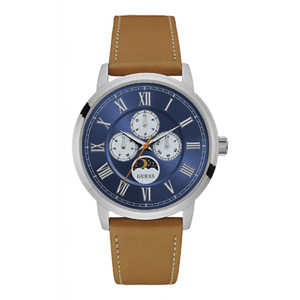 Guess Delancy Stainless Steel Men's Watch with Tan Strap