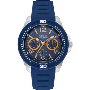 Guess Tread Stainless Steel Men's Watch with Blue Strap W0967G2