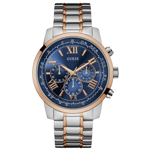 Guess Horizon Chronograph Men's Watch with Silver Rose Gold Tone