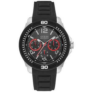 Guess Tread Stainless Steel Men's Watch with Black Strap W0967G1