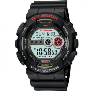 Casio G-Shock Black Red Chronograph Watch GD-100-1AER