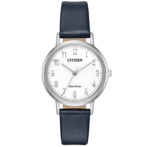 Citizen Eco-Drive Ladies Blue Leather Strap Watch EM0570-01A