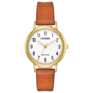 Citizen Eco-Drive Ladies Gold Case and Brown Leather Strap EM0572-05A