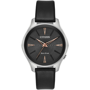 Citizen Eco-Drive Ladies Black Dial With Rose-Gold Accents Watch EM0591-01E