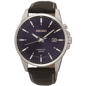 Seiko Men's Kinetic Leather Strap Watch SKA731P1