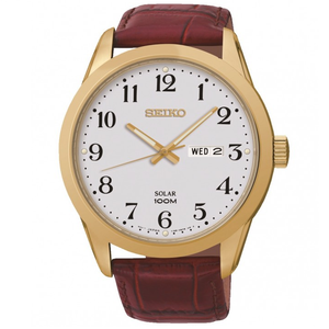 Seiko Men's Solar Powered Leather Strap Watch SNE372P1