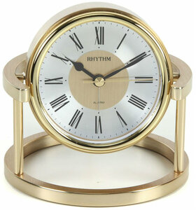 Rhythm Gold Finish Silent Movement Metal Mantel Clock With Alarm CRE958NR18