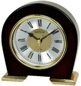 Rhythm Classic Wood And Gold Silent Movement Mantel Clock With Alarm CRE959NR06