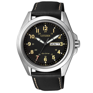 Citizen Men's Sports Eco-Drive Leather Strap Day Date Watch AW0050-07E