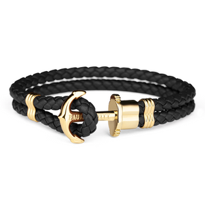 Paul Hewitt Phrep Gold Anchor And Black Leather Bracelet PH-PH-L-G-B-L