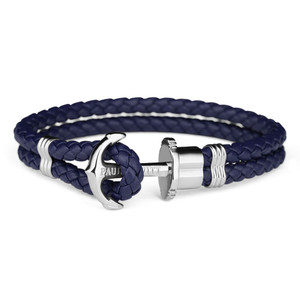 Paul Hewitt Phrep Silver Anchor And Navy Blue Leather Bracelet PH-PH-L-S-N-XXL