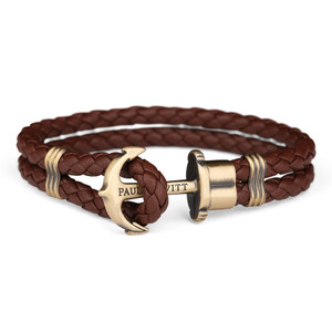 Paul Hewitt Phrep Brass Anchor And Brown Leather Bracelet PH-PH-L-M-Br-M