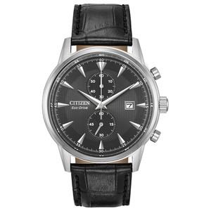 Citizen Eco-Drive Corso Chronograph Black Leather Strap Watch CA7000-04H