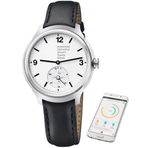 Mondaine Helvetica No1 Black Leather Smart Watch MH1.B2S10.LB