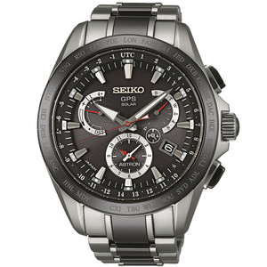 Seiko Astron GPS Titanium Solar Powered Men's Dual Time Watch SSE041J1