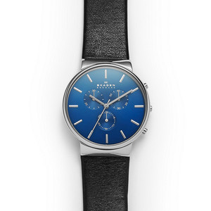 Skagen Ancher Men's Chronograph Watch with Blue Dial SKW6105