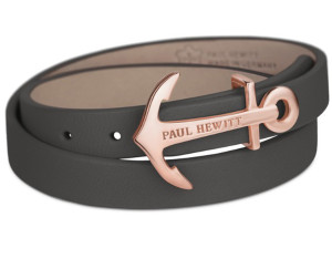Paul Hewitt North Bound Rose Gold Anchor Stainless Steel And Black Leather Bracelet PH-WB-R-13M