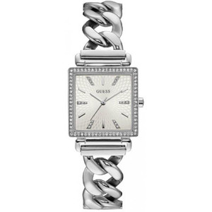 Guess Vanity Ladies Square Crystal Silver Watch with Grey Dial W1030L1