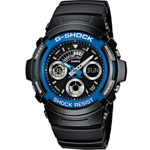 G-Shock Black Resin Blue Bezel Chronograph Watch AW-591-2AER