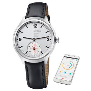 Mondaine Helvetica 1 Black Leather Smart Watch MH1.B2S80.LB