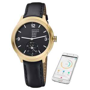 Mondaine Helvetica 1 Black Leather Rose Gold Smart Watch MH1.B2S20.LB
