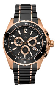 Gc Men's Sport Class XXL Ceramic Black And Rose Gold Chronograph Watch X76004G2S