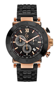 Gc Men's -1 Sport Black And Rose Gold Chronograph Watch X90006G2S