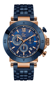 Gc Men's -1 Sport Blue And Rose Gold Chronograph Watch X90012G7S