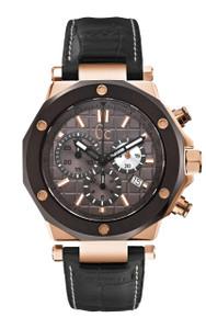 Gc Men's -3 Chronograph Black Leather Sports Watch X72024G5S