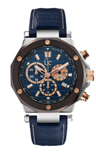Gc Men's -3 Chronograph Blue Leather Sports Watch X72025G7S