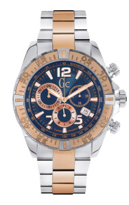 Gc Men's Sportracer Silver And Rose Gold Chronograph Watch Y02002G7