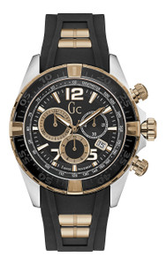 Gc Men's Sportracer Black And Rose Gold Chronograph Silicone Watch Y02011G2