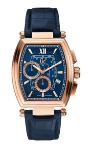 Gc Men's Retroclass Blue And Rose Gold Chronograph Watch Y01004G7