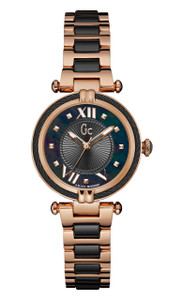 Gc Ladies Cablechic Rose Gold And Black Watch Y18013L2