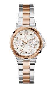 Gc Structura Silver And Rose Gold Dress Watch Y29002L1