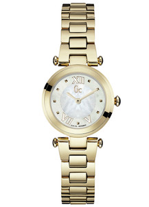 Gc Ladies Ladychic White Mother Of Pearl Dress Watch Y07008L1