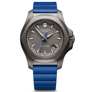 Victorinox Swiss Army I.N.O.X. Grey Dial Watch with Blue Rubber Strap 241759