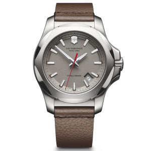 Victorinox Swiss Army I.N.O.X. Grey Dial Watch with Brown Leather Strap 241738