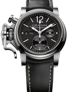 Graham Men's ChronoFighter Vintage Stainless Steel Leather Strap Watch 2CVAS.B02A.L127S