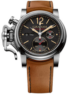 Graham Men's ChronoFighter Vintage Brown Leather Strap Watch 2CVAS.B03A.L128S