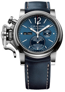 Graham Men's ChronoFighter Vintage Blue Leather Strap Watch 2CVAS.U01A.L129S