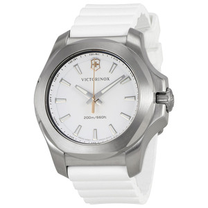Victorinox Swiss Army I.N.O.X V White Dial Watch with White Rubber Strap 241769