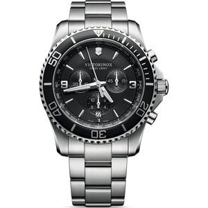 Victorinox Swiss Army Maverick Chronograph Black Dial Silver Bracelet Watch 241695