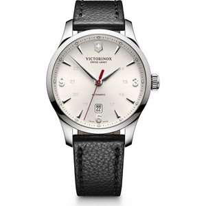 Victorinox Swiss Army Alliance Egg Shell Dial Watch with Black Leather Strap 241666