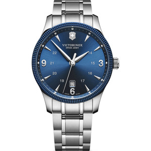 Victorinox Swiss Army Alliance Blue Dial Silver Bracelet Watch + Knife 241711.1