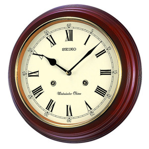 Seiko Westminster Chimes Alder Wooden Wall Clock QXH202B